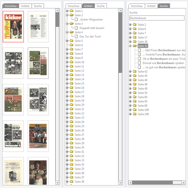 Lesesaal - Übersicht über die Artikel und Seiten der Ausgabe