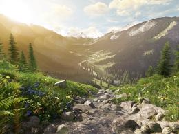 Eine erste Landschaft, die mit Amazon Lumberyard erstellt wurde.
