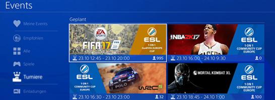 So sieht das Turnier-Feature der ESL auf der PS4 aus!