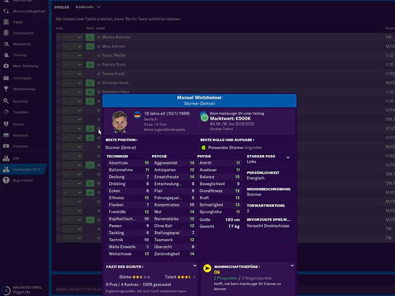 Das Spielermanagement im Football Manager 2019 ist umfangreich und nicht immer einfach.