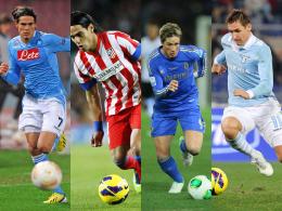 Cavani, Falcao, Torres, Klose (v.l.) - viele internationale Topstars schmücken die Europa-League-Zwischenrunde.