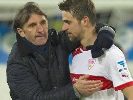 Pure Erleichterung: VfB-Trainer Bruno Labbadia und Martin Harnik nach dem Sieg bei der TSG Hoffenheim.