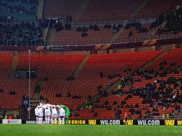Die Tottenham-Spieler am Donnerstag im schlecht besuchten San Siro