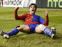 Riesenjubel bei Stocker nach seinem Treffer zum 1:0 für Basel.
