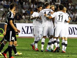 Früher Jubel in Aserbaidschan: Dank Alexander Meier ging die Eintracht schon in der sechsten Minute in Führung.