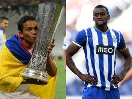 Sorgen für Tore: Sevillas frisch gebackener Europa-League-Sieger Carlos Bacca (li.) und Portos Jackson Martinez.