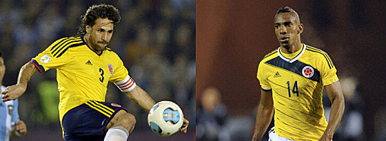 Bildeten die Innenverteidigung in der Qualifikation und sind zusammen 73 Jahre alt: Mario Yepes (li.) und Luis Perea.