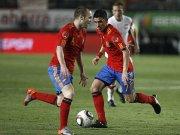 Andres Iniesta (li.) und David Villa