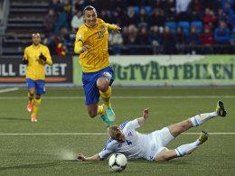 Zlatan Ibrahimovic beim 2:1-Sieg der Schweden auf den Färöern