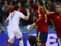 Später Jubel: Giroud traf in der Nachspielzeit für Frankreich in Spanien.