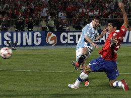 Lionel Messi schlug auch in Chile zu.