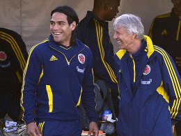 Auf bestem Weg in Richtung WM 2014: Kolumbiens Nationaltrainer José Pekerman und Neu-Monegasse Falcao.