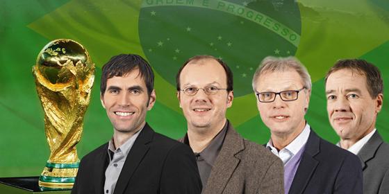 Bom dia, Brasil! Die kicker-Redakteure Oliver Bitter, Hans-Günter Klemm, Jörg Wolfrum und Mounir Zitouni (v. re.).