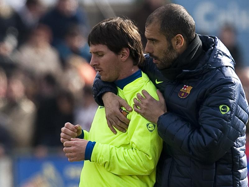 Das waren noch Zeiten: Pep Guardiola (re.) und Lionel Messi vereint in Barcelona.