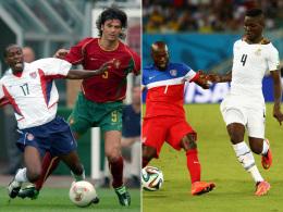 Früher und heute: DaMarcus Beasley (links im Jahr 2002 gegen Portugals Kapitän Fernando Couto, rechts gegen Ghanas Daniel Opare).