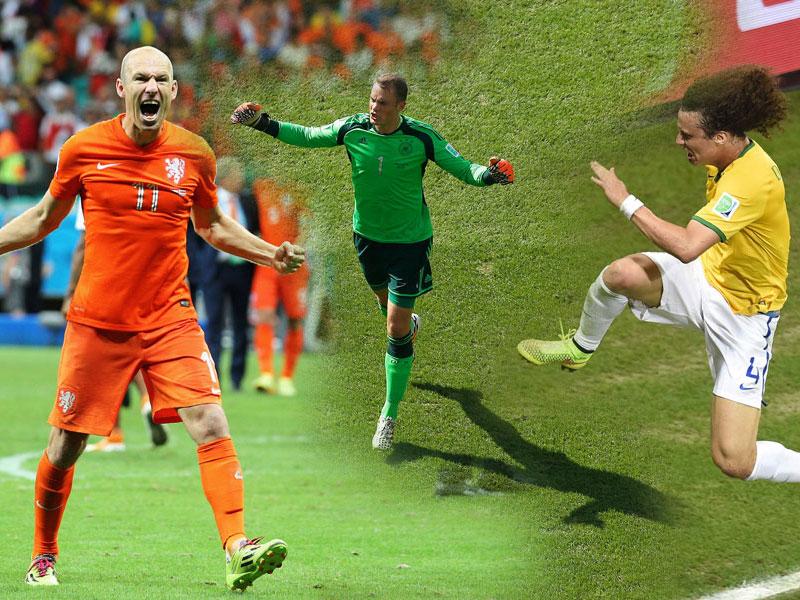 Arjen Robben, Manuel Neuer und David Luiz (v.li.)