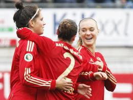 Umjubelt: Sarah Hagen (li.) traf viermal für den FCB, Vanessa Bürki (re.) erzielte das 2:0 in Hoffenheim.