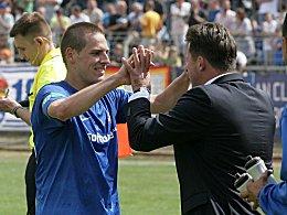 Darmstadts Angreifer Oliver Heil (li.) bekommt zukünftig in Person von Neuzugang Marcus Steegmann Konkurrenz.