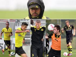David Wagner (o.), Rico Benatelli, Kerem Demirbay, Eric Durm, Tim Treude und Marvin Ducksch (v.l.)