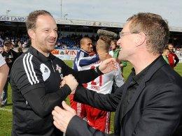 Das Erfolgsduo bei RB Leipzig: Trainer Alexander Zorniger (li.) und Sportdirektor Ralf Rangnick.