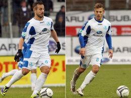 Bleiben den Kickers erhalten: Sandrino Braun (li.) und Gerrit Müller haben ihre Verträge bei den Kickers bis 2016 verlängert.