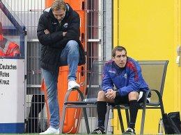 Trainer René Müller und Co-Trainer Florian Fulland (v.li.)