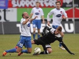 Andreas Spann (li., Heidenheim) und Danny Blum (Sandhausen)