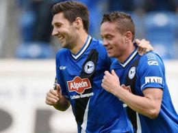 Matchwinner: Dreifachtorschütze Christian Müller (re.) mit Stephan Salger.