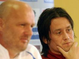 Rosicky (re.) mit Coach Bilek