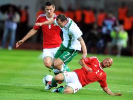 Kein Durchkommen: Irlands Aiden McGeady wird von den Ungarn Jozsef Varga (re.) und Adam Pinter in die Zange genommen.