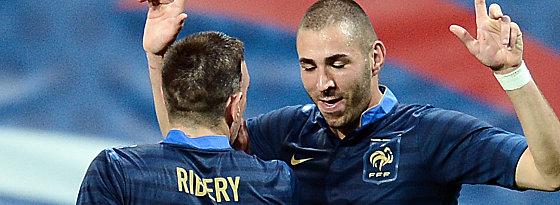 Franck Ribery und Karim Benzema (re.)