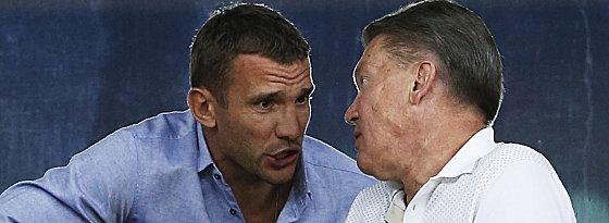 Ukraine-Coach Oleh Blokhin (r.) mit seinem zurückgetretenen Superstar Andriy Shevchenko.