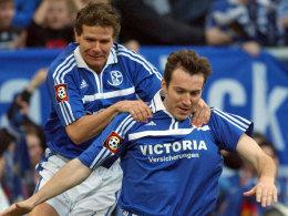 Andreas M�ller (li.) und Marc Wilmots gemeinsam auf Schalke, nun kommt es bei der EM zum Wiedersehen.
