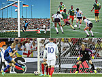 Österreich schlägt Deutschland bei der WM 1978 (oben links), Kamerun Argentinien bei der WM 1990 (oben rechts) und Island England bei der EM 2016