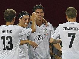 Thomas Müller, Mesut Özil, Mario Gomez, Bastian Schweinsteiger (von links nach rechts, Deutschland)