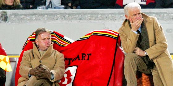 """""""Beim VfB haben wir uns nach oben kein Limit gesetzt"""": Chefcaoch Giovanni Trapattoni (re.) und sein """"Co"""" Andreas Brehme."""