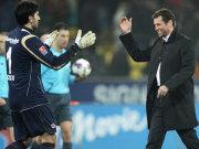 Nikolov und Eintracht-Coach Skibbe