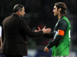 Weitere Zusammenarbeit geplant: Werders Boss Klaus Allofs und Kapitän Torsten Frings.