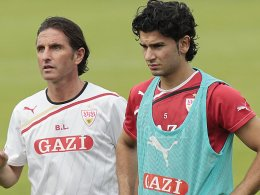 VfB-Trainer Bruno Labbadia und Serdar Tasci.