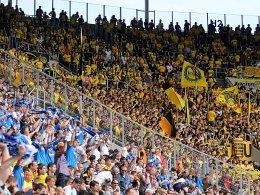 Unter Beschallung: Dortmunder Fans in Sinsheim.