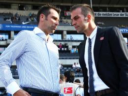 Haben sich nichts mehr zu sagen: Hertha-Manager Michael Preetz (li.) und Ex-Trainer Markus Babbel.