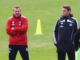 Schulterschluss: Frank Arnesen (re.) und Thorsten Fink.