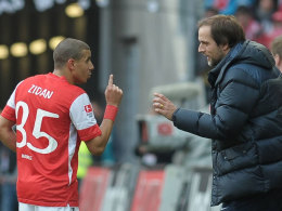 Mohamed Zidan (l.) und Mainz-Coach Thomas Tuchel