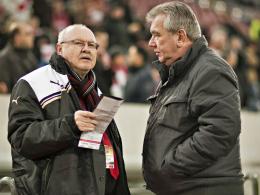 Manager Wolf Werner und Fortuna-Präsident Peter Frymuth.