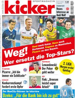 Aktuelle Ausgabe des kicker sportmagazin vom 02.08.2012