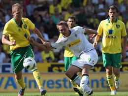 Gut aufgelegt: Borussia Mönchengladbach (hier mit Luuk de Jong) gewann bei Norwich City mit 2:0.