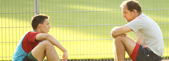 Petar Sliskovic und FSV-Coach Thomas Tuchel
