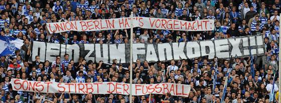 Vorbild Union: Fans des MSV Duisburg bezogen am Wochenende Position.