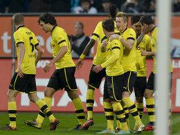 Kollektiver BVB-Jubel nach dem zwischenzeitlichen 2:0 durch Lewandowski (ganz rechts).