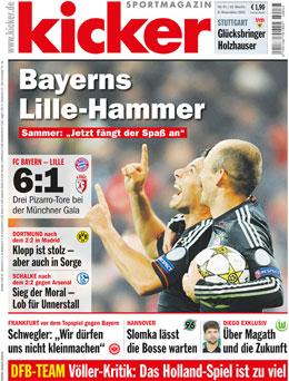 Die aktuelle Ausgabe des kicker sportmagazin vom 8.11.2012